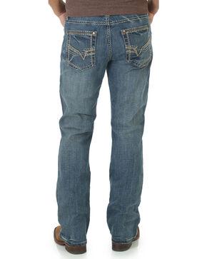 Rock 47 by Wrangler Men's Angular Stitched Slim Boot Cut Jeans, Med Blue, hi-res