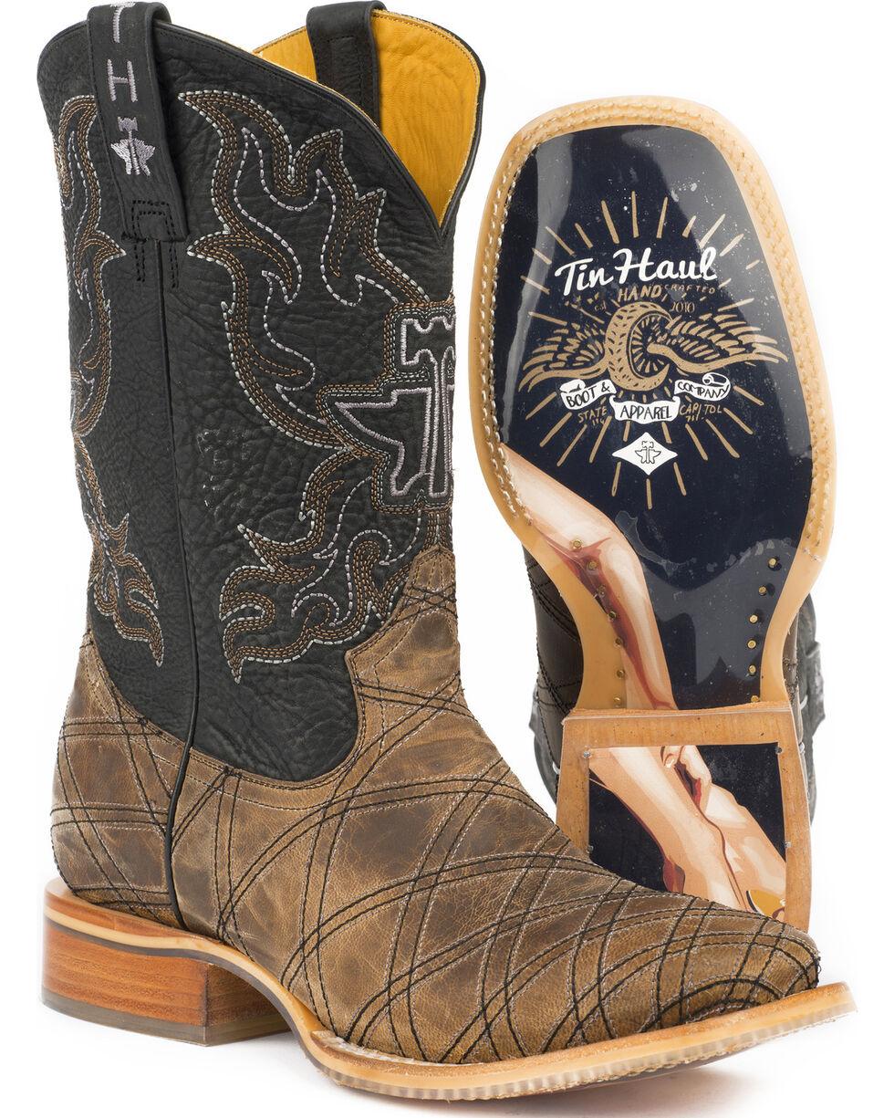 Tin Haul Men's What's Your Angle Cowboy Boots - Square Toe, Tan, hi-res