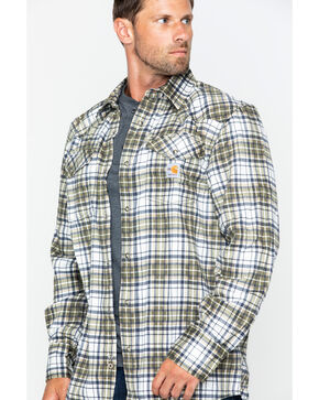 Carhartt Men's Plaid Moss Flame-Resistant Snap-Front Shirt , Moss Green, hi-res