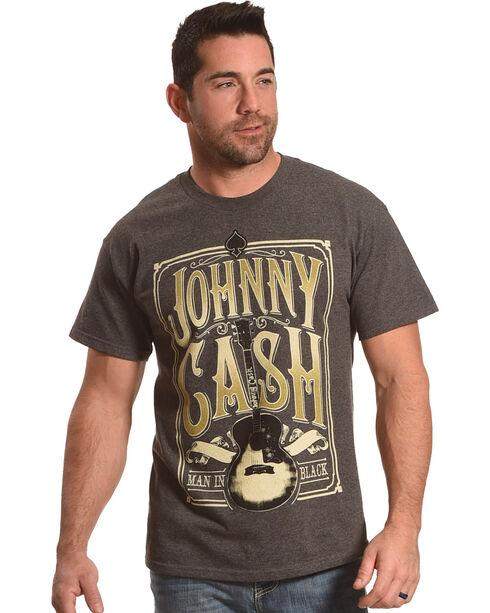 Merch Traffic Men's Grey Johnny Cash Signature Guitar Tee , Heather Grey, hi-res