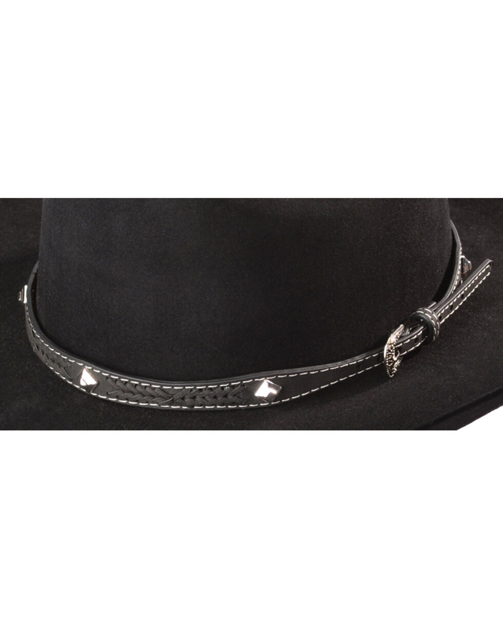 Leather Laced Diamond Concho Hat Band, Black, hi-res