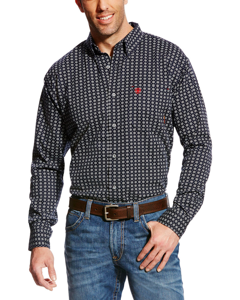 Ariat Men's FR Stark Geo Print Work Shirt - Big & Tall, Multi, hi-res