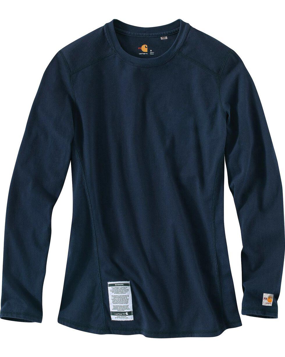 Carhartt Women's Flame Resistant Carhartt Force Long Sleeve Shirt, Navy, hi-res