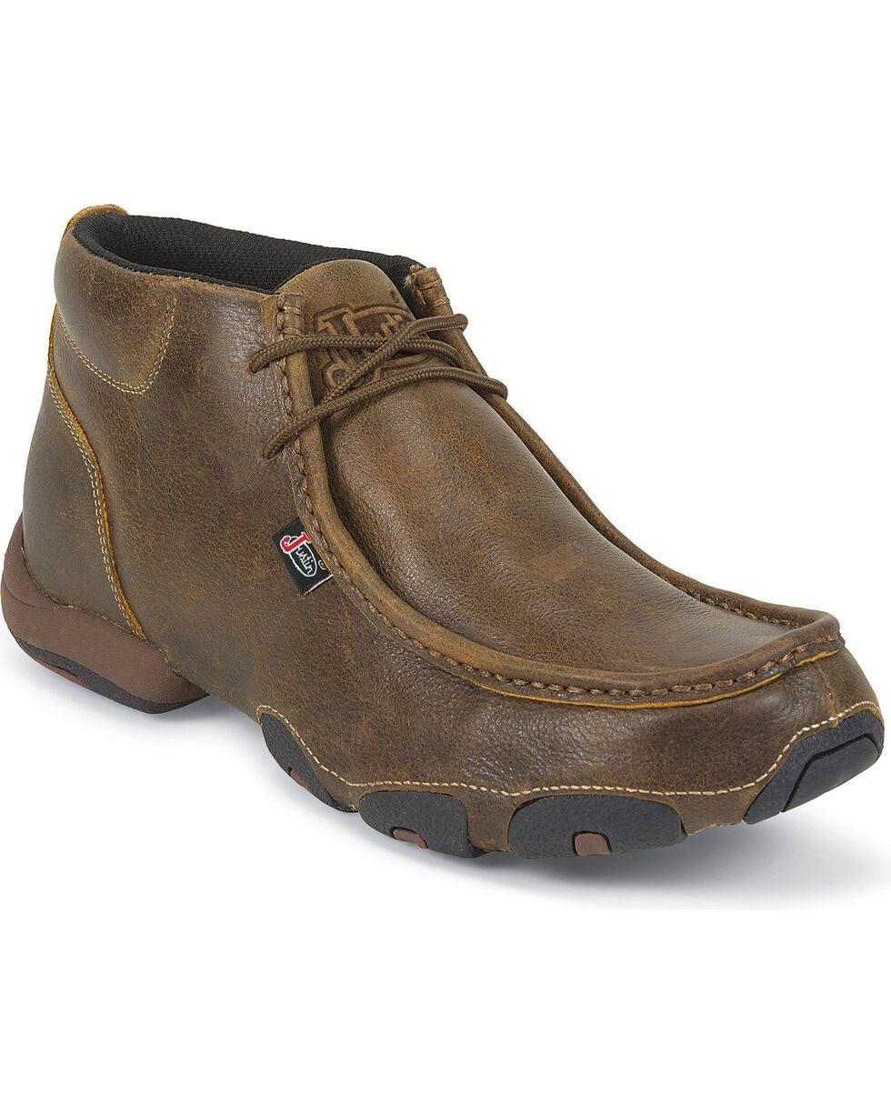 Justin Men's Casual Moc Toe Shoes, Tan Distressed, hi-res