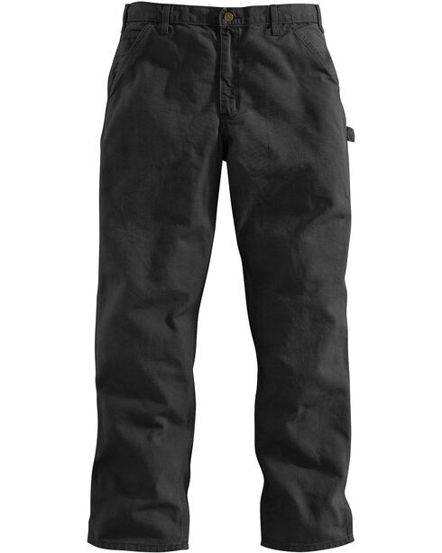 Carhartt Men's Washed Dungaree Work Pants, Black, hi-res