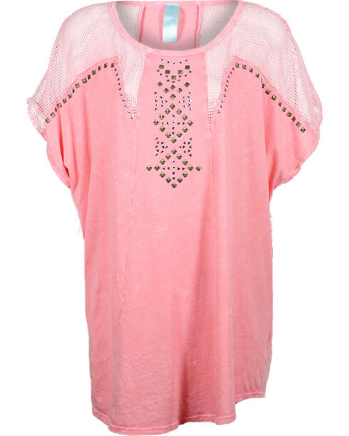 Lawman Women's Mesh Trimmed Tunic, Coral, hi-res