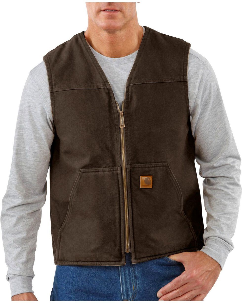 Carhartt Sandstone Duck Work Vest - Big & Tall, Dark Brown, hi-res