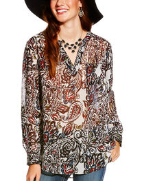 Ariat Women's Paisley Print Split Neck Nordic Tunic, , hi-res