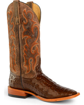 Horse Power by Anderson Bean Men's Crocodile Print Boots, Brown, hi-res