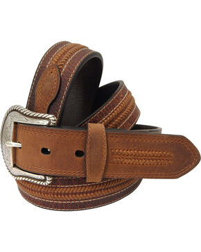 Roper Men's Brown Leather Belt, Brown, hi-res