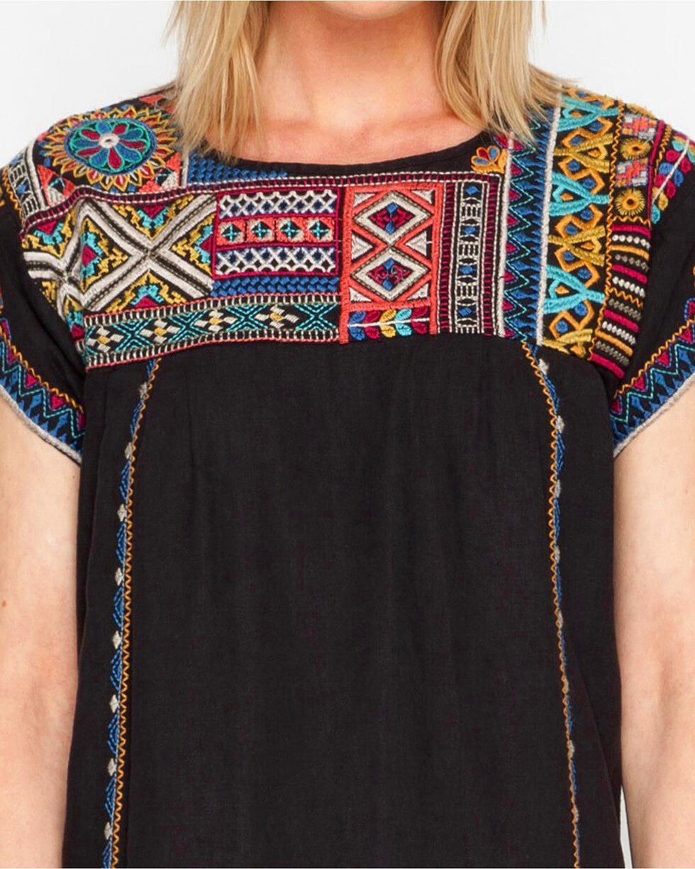 Johnny Was Women's Black Arwen Pleated Peasant Long Tunic, Black, hi-res