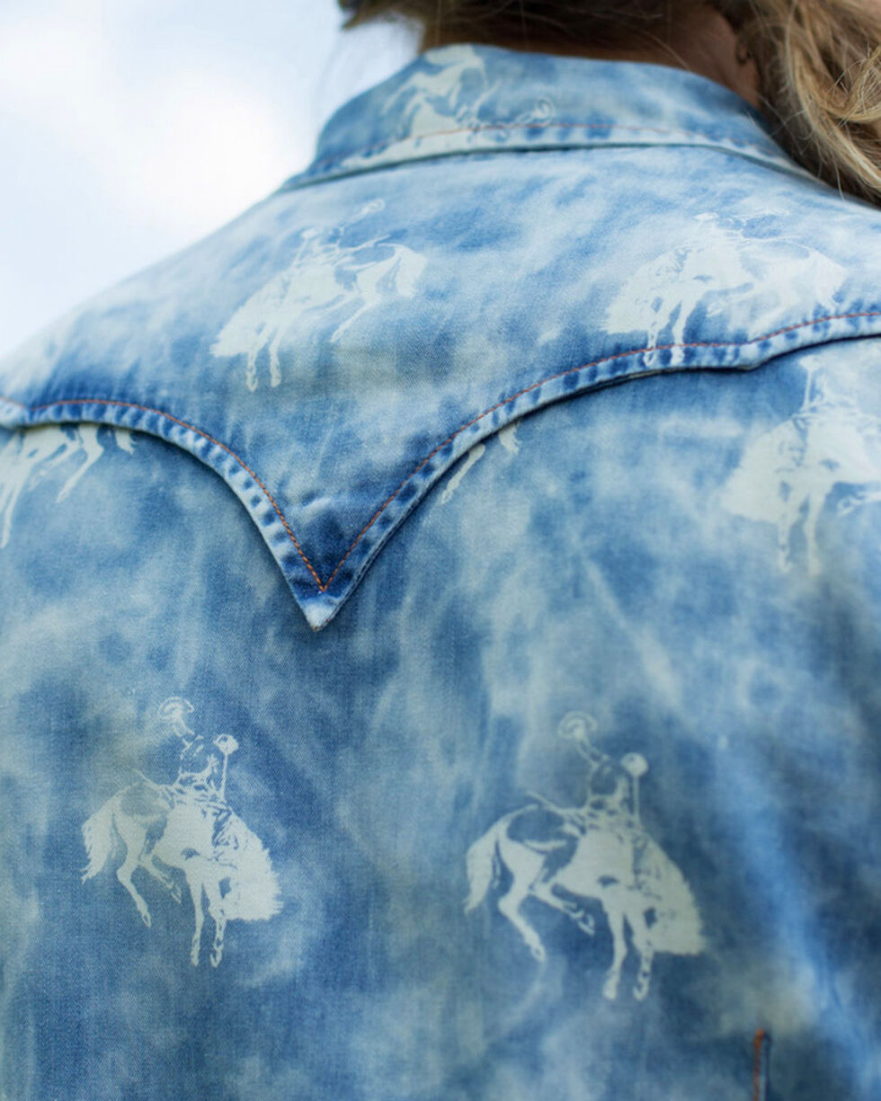 Ryan Michael Women's Indigo Bucking Horse Print Shirt , Indigo, hi-res