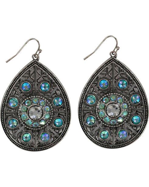 Shyanne® Women's Turquoise Crystal Teardrop Earrings, Silver, hi-res