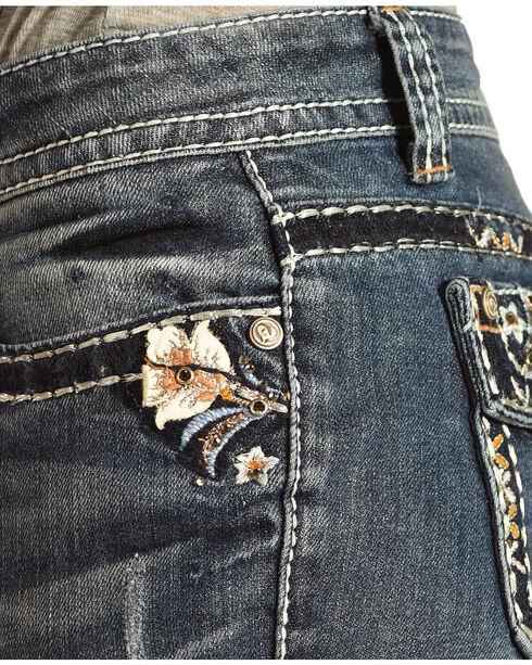Shyanne® Women's Low Rise Floral Boot Cut Jeans, Indigo, hi-res