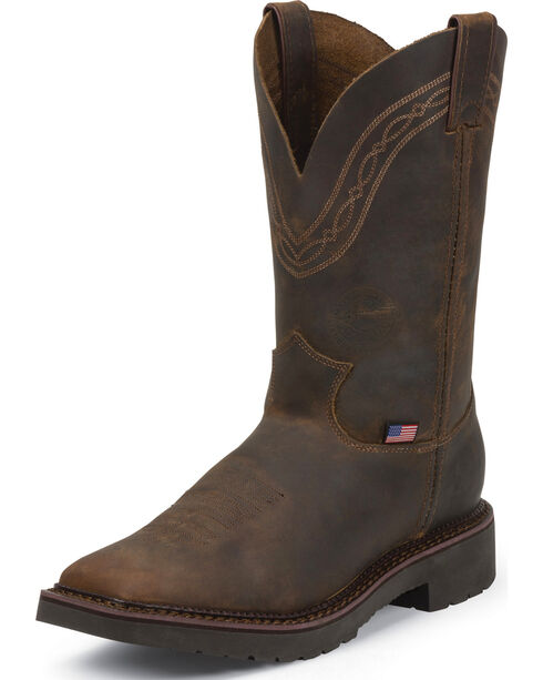 Justin Men's Piperfitter Steel Toe Western Work Boots, Tan, hi-res