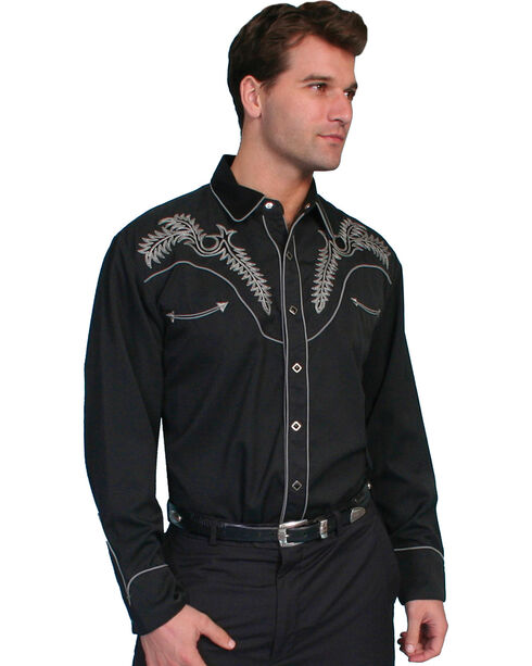 Scully Fancy Stitched Retro Western Shirt, Black, hi-res