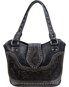 Montana West Women's Genuine Tooled Leather Concealed Carry Handbag , Black, hi-res