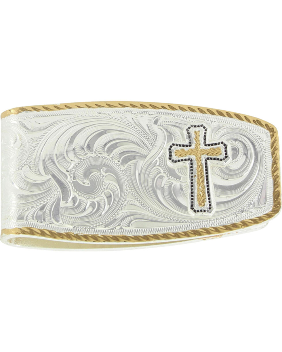 Montana Silversmiths Silver Cross Figure Money Clip , Silver, hi-res