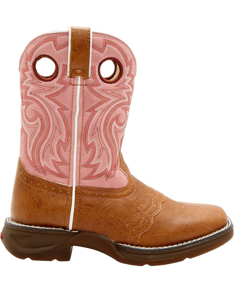 Durango Youth Pink Cowgirl Boots - Square Toe, Tan, hi-res