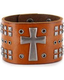 Moonshine Spirit Men's Cross Leather Cuff, , hi-res