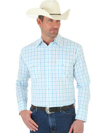 Wrangler George Strait Snap White and Blue Plaid Poplin Shirt, , hi-res