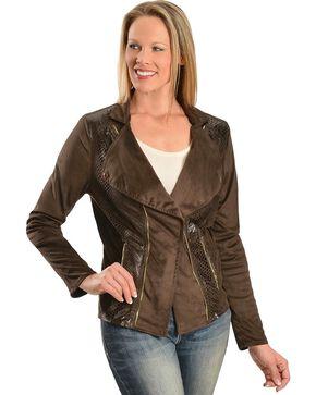 Faux Suede Snakeskin Print Jacket, Brown, hi-res