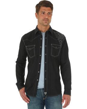 Wrangler Rock 47 Men's Black Embroidered Shirt, Black, hi-res