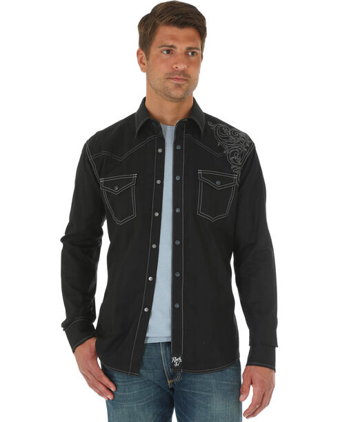 Wrangler Rock 47 Men's Black Embroidered Shirt, Black, hi-res