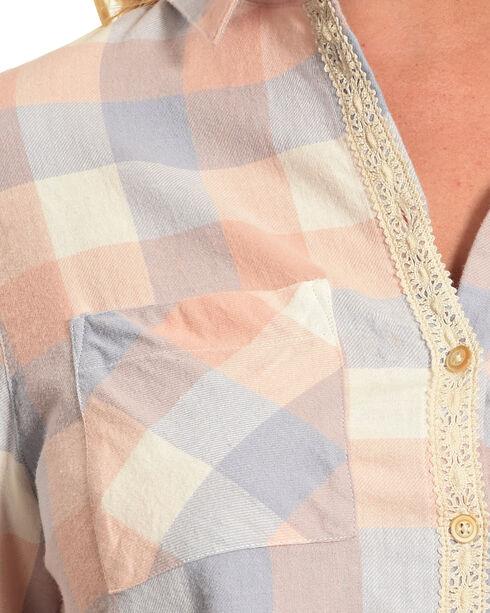 Shyanne Women's Long Sleeve Aztec Braid Placket Flannel Shirt, Multi, hi-res