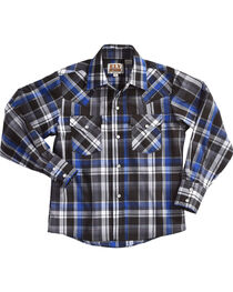 Ely Cattleman Boys' Blue Long Sleeve Lurex Plaid Snap Shirt, , hi-res