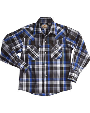 Ely Cattleman Boys' Blue Long Sleeve Lurex Plaid Snap Shirt, Indigo, hi-res