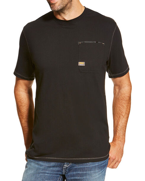 Ariat Men's Rebar Crew Short Sleeve Shirt, Black, hi-res