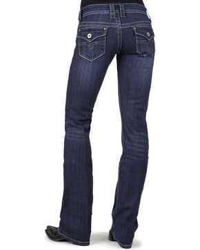 Stetson Women's 818 Dark Rinse Rhinestone Rear Flap Bootcut Jeans, Denim, hi-res