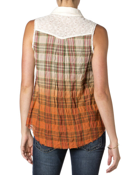 Miss Me Sleeveless Lace Back Ombre Shirt , Orange, hi-res
