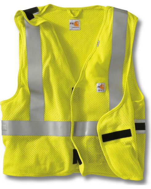 Carhartt Men's FR High-Visibility 5 point breakaway Vest, Lime, hi-res