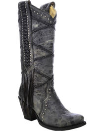 Corral Women's Braided with Fringe Western Boots, , hi-res