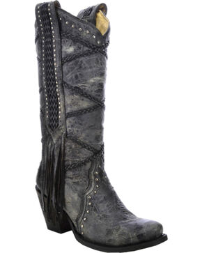 Corral Women's Braided with Fringe Western Boots, Black, hi-res