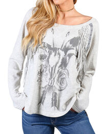 Shyanne Women's Graphic Fringe Sweatshirt, , hi-res