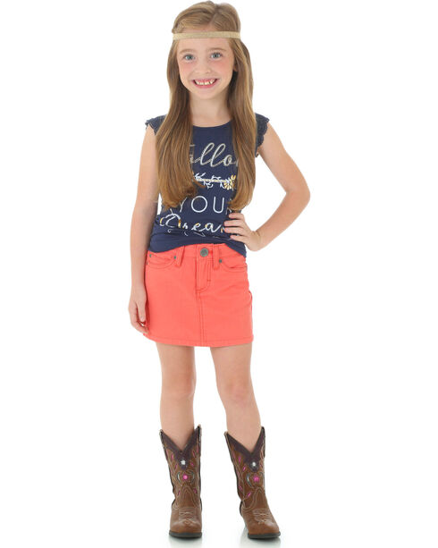 Wrangler Girls' Canvas Skirt, Coral, hi-res