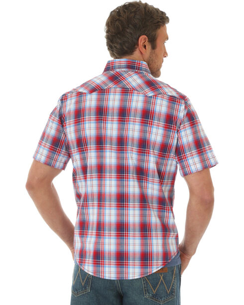 Wrangler Men's Western Plaid Short Sleeve Shirt, Red, hi-res