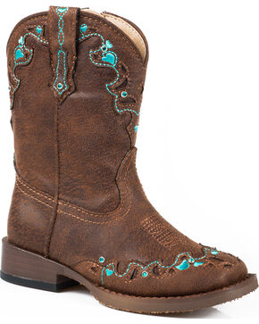 Roper Infant's Hearts Vintage Faux Leather Western Boots, Brown, hi-res