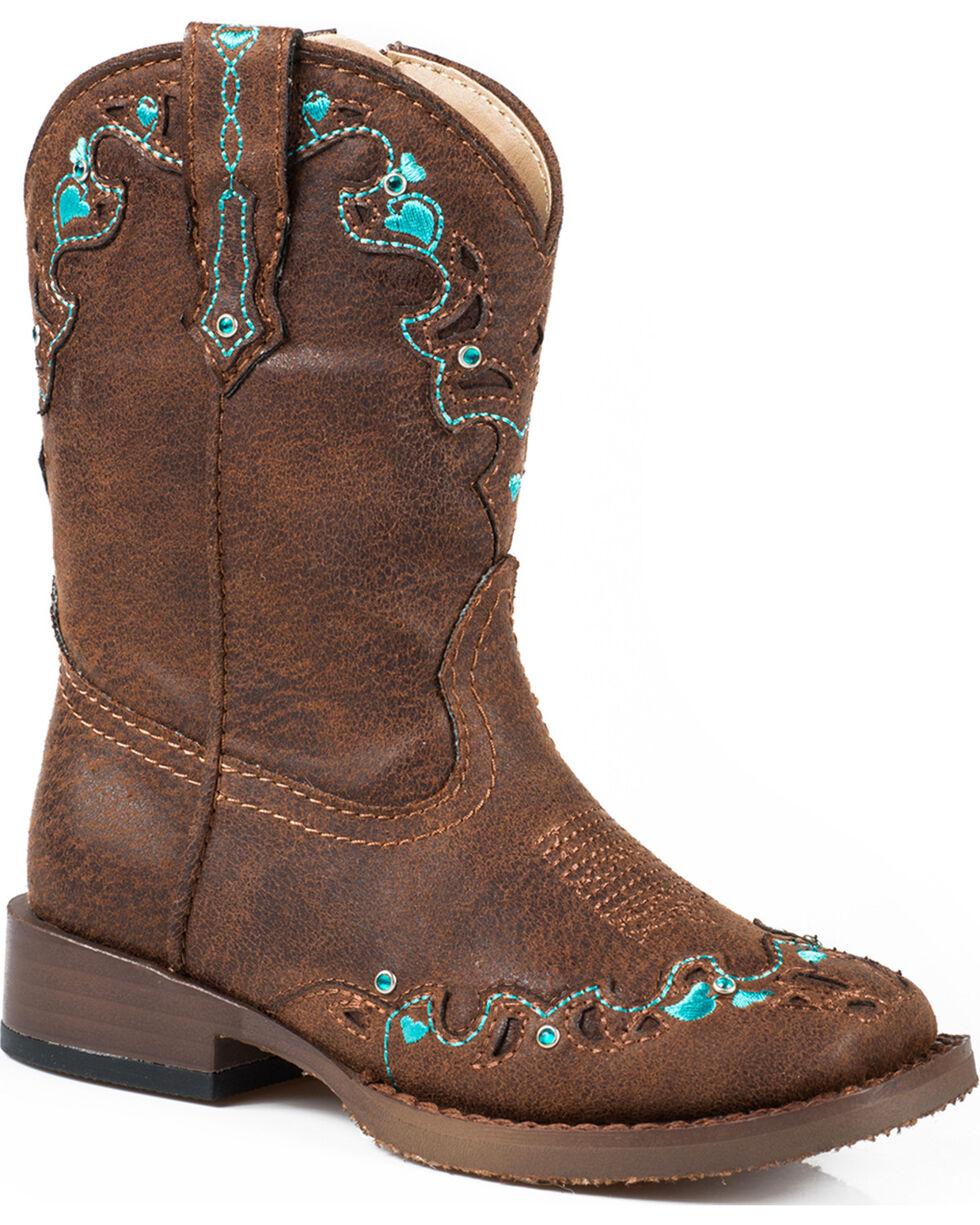 Roper Infant's Hearts Vintage Faux Leather Western Boots, Brown, hi-res