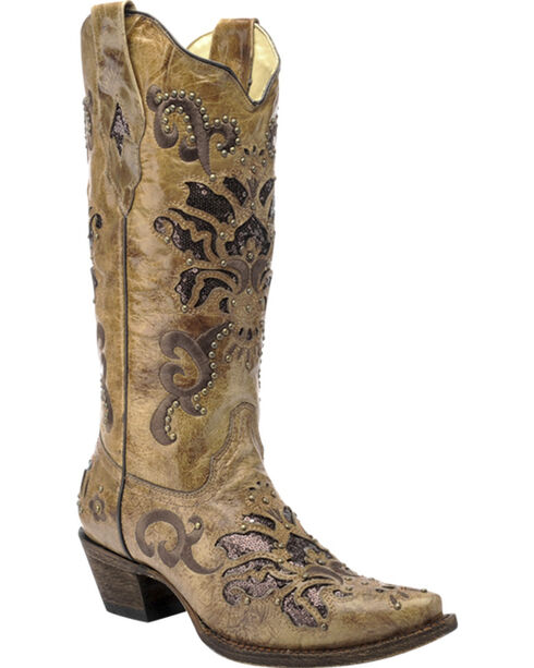 Corral Vintage Honey Brown Studded Cowgirl Boots - Snip Toe, Honey, hi-res