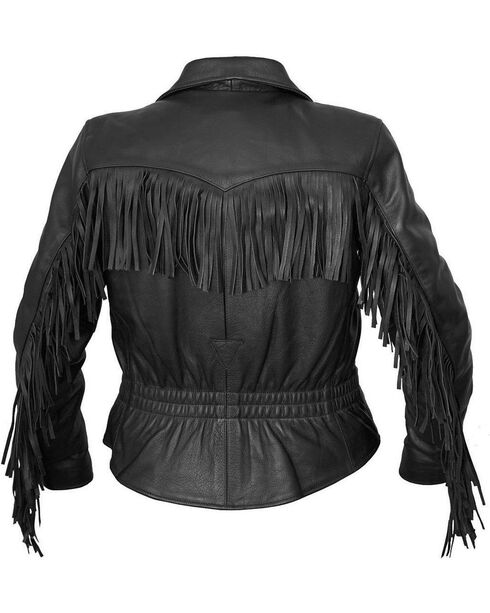 Interstate Leather Women's Madonna Fringe Riding Jacket, Black, hi-res