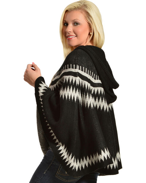 Pink Cattlelac Women's Hooded Sweater Poncho, Blk/white, hi-res