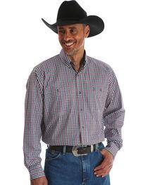 Wrangler Men's George Strait Black Plaid Double Pocket Shirt , , hi-res