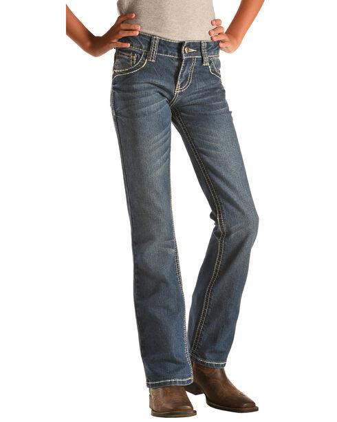 Cowgirl Hardware Girls' Stitched Rim Bootcut Jeans , Indigo, hi-res