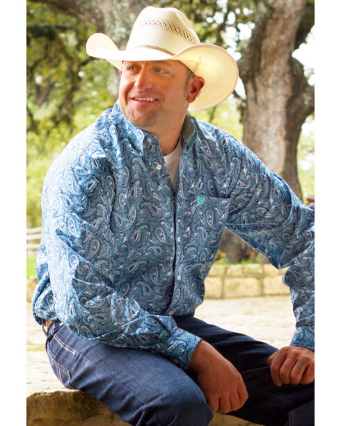 Cinch Men's Paisley Patterned Long Sleeve Shirt, Blue, hi-res