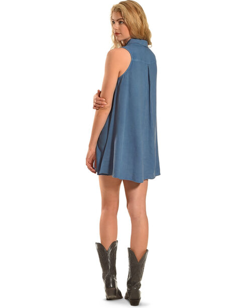 Derek Heart Women's Sleeveless Trapeze Dress, Blue, hi-res