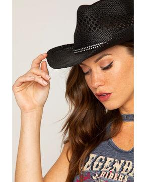 Shyanne® Women's Black Bling Straw Hat, Black, hi-res
